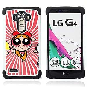 For LG G4 H815 H810 F500L - Superhero Girl Red Stripes Flying Cartoon /[Hybrid 3 en 1 Impacto resistente a prueba de golpes de protecci????n] de silicona y pl????stico Def/ - Super Marley Shop -
