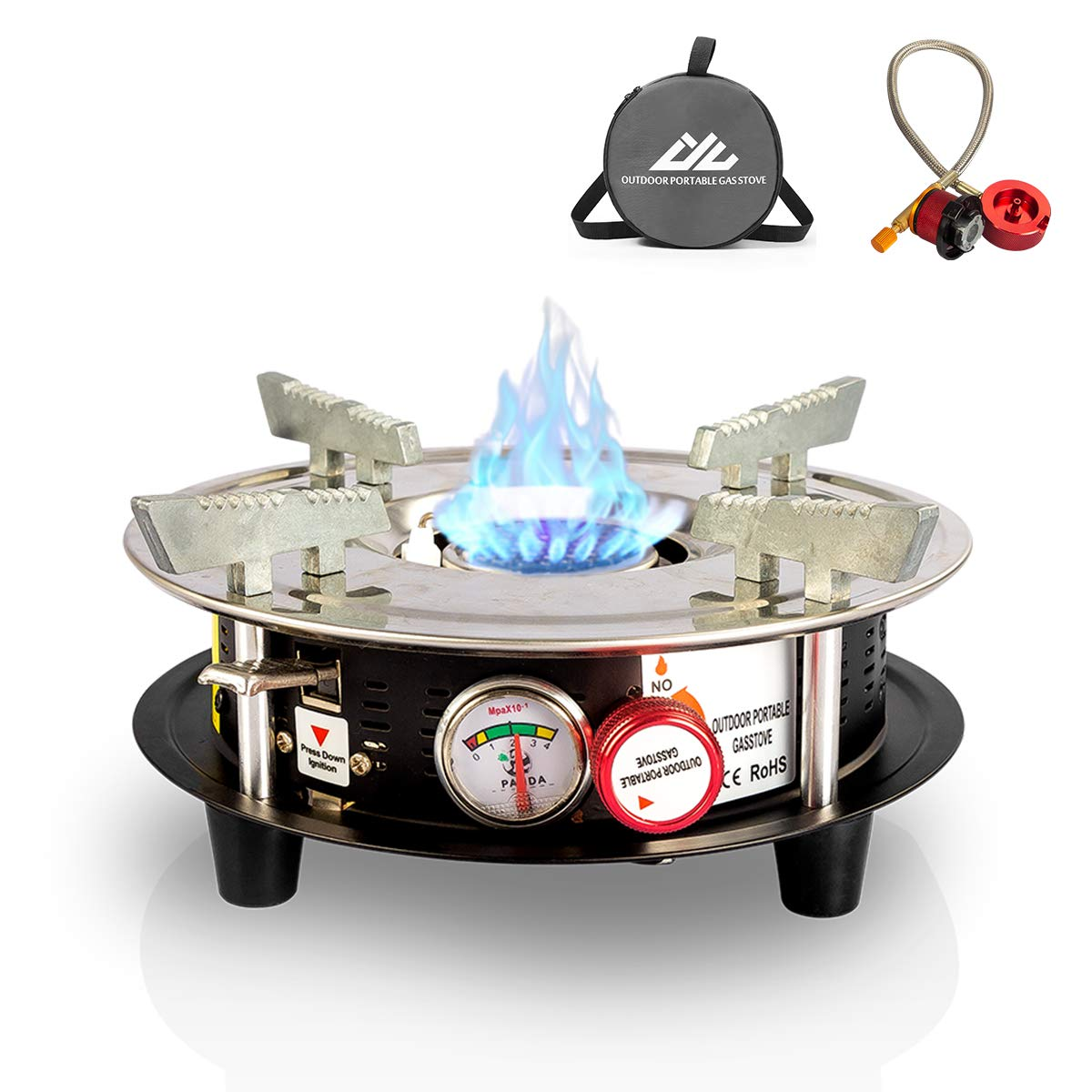 Drhob Portable Cooking Gas Stove Burner 10,000 BTU Dual Fuel Propane or Butane Patio Backpacking Stove with Propane Regulator Hose & Storage Bag for Outdoor, Hiking,Camping,Home Brewing Equipment