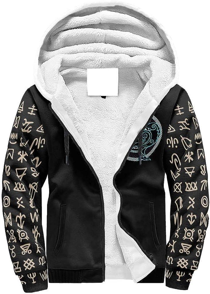 ChengMaR Male Casual Hoodies Sweatshirt Wool Warm Thick War Eagle Viking Hoodie Sweatshirt Jacket