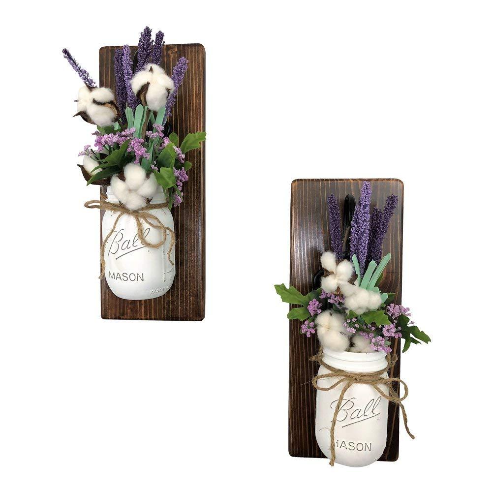 Set of 2 Lavender Fields Meet Cotton Mason Jar Wall Sconces Floral Arrangements