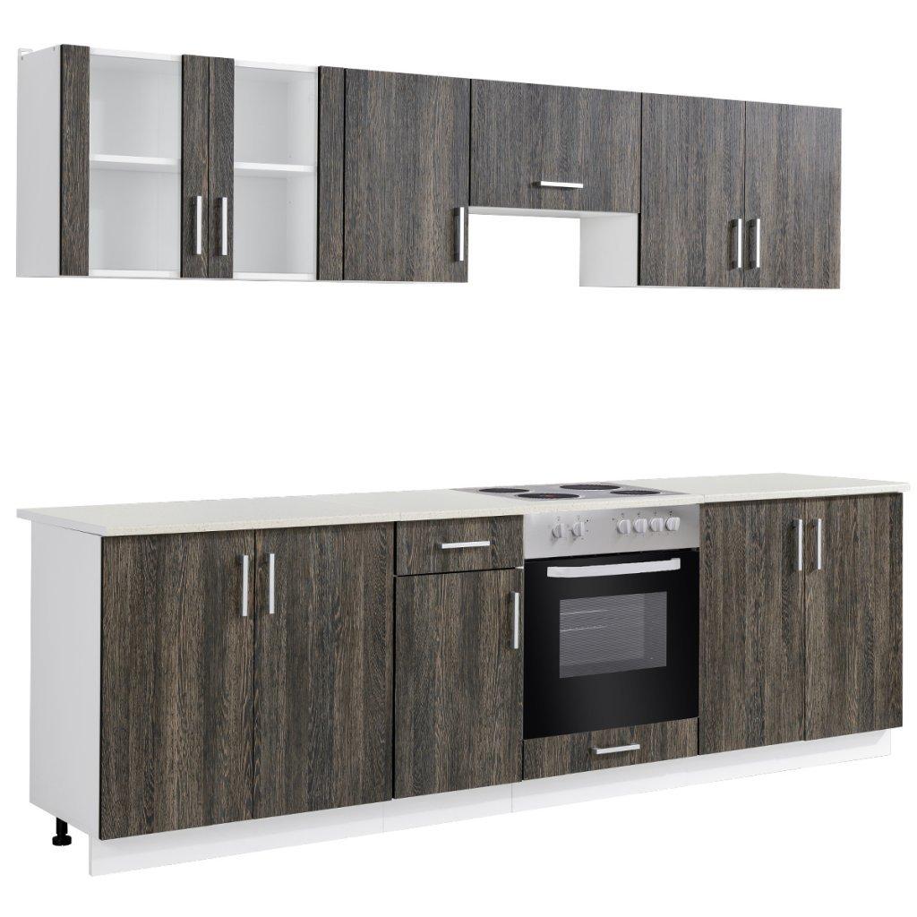 Anself Küchenzeile Küchenblock Einbauküche inkl. Einbauherd und Herdplatte Wenge