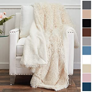 The Connecticut Home Company Shag with Sherpa Reversible Throw Blanket, Super Soft, Large Plush Wrinkle Resistant Blankets, Warm and Hypoallergenic Washable Couch or Bed Throws, 65x50, Cream