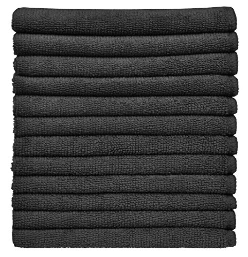 Sinland Absorbent Microfiber Dish Cloth Kitchen Streak Free Cleaning Cloth Dish Rags Lens Cloths 12inchx12inch 12 Pack (12Inchx12Inch, Black)