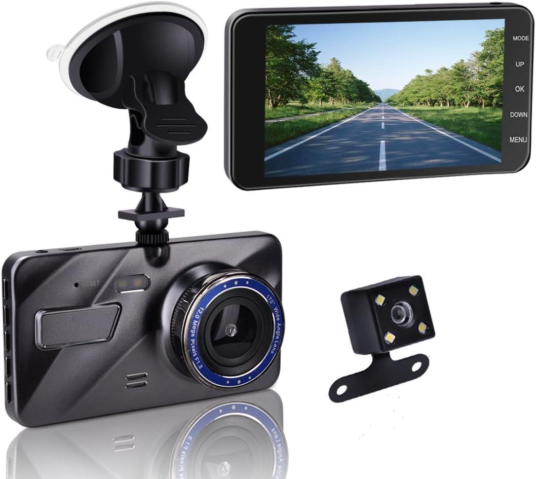1080P 4'' LCD IPS Dual Lens Car Dash Cam FHD Dashboard Camera 170° Driving DVR