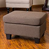Great Deal Furniture Christabel Brown Fabric Ottoman Footstool For Sale