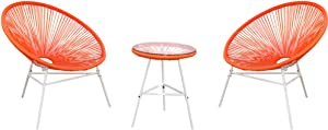 PatioPost Outdoor Acapulco Chair 3 Piece Bistro Set Patio Furniture Sets with Glass Top Table - Red