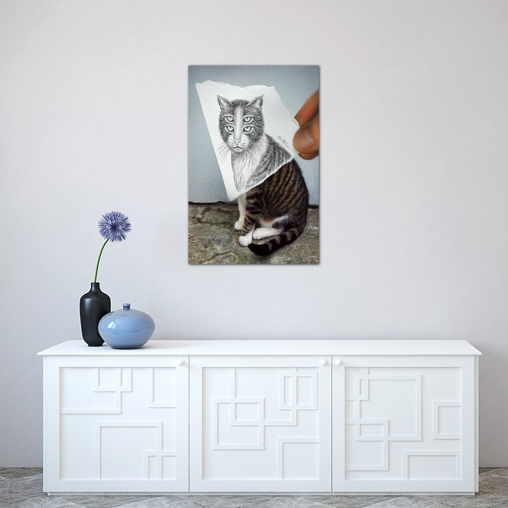 0.75 by 60 by 40-Inch iCanvasART 3-Piece Pencil Vs Camera 6-4 Eyes Cat Canvas Print by Ben Heine