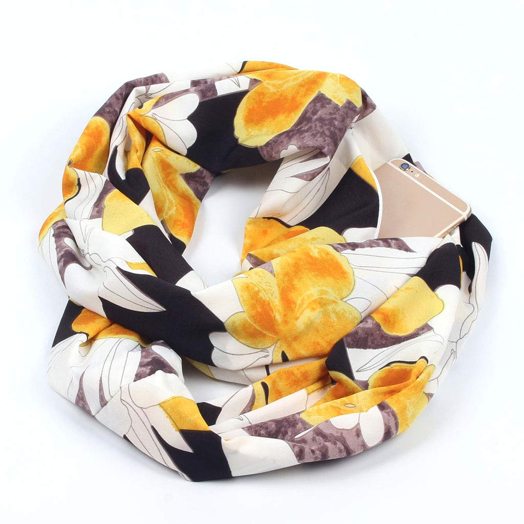 Lunji Infinity Scarf with Hidden Zip Pocket Bohemian Print Double Layer Loop Scarf Travel Scarf
