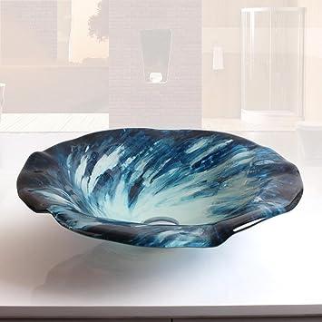 WHH Salle de bain contemporaine forme fleur bleue trempé vasque en ...