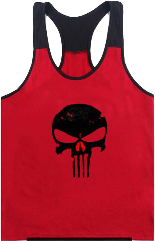 Tank Top Hombre de Tirantes Camiseta Deportiva de algodón para Pesas y Gym. Camisas Fitness sin Mangas. (Punished Tirante roja) - S: Amazon.es: Ropa y accesorios