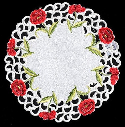 Pair of Doilies (small) in a Poppy Design