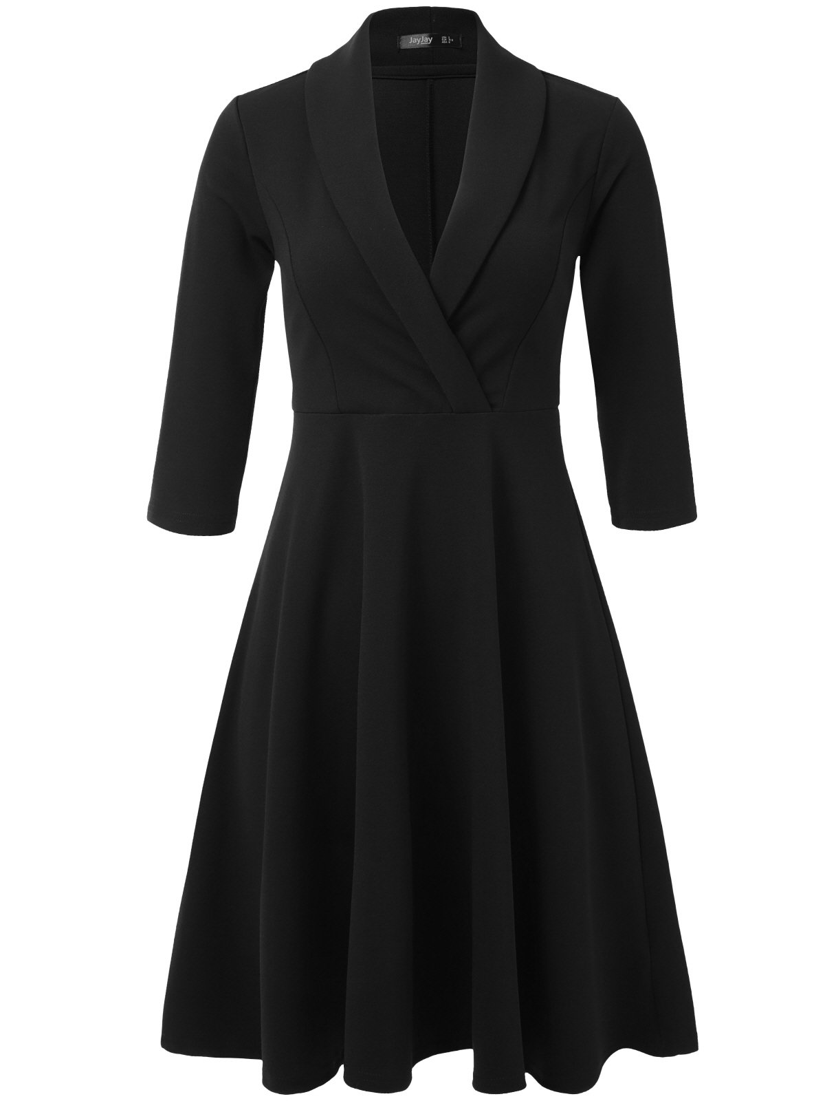 JayJay Women 3/4 Sleeve Wear To Work Lapel Party Fit and Flare Faux Wrap Dress,Black,L