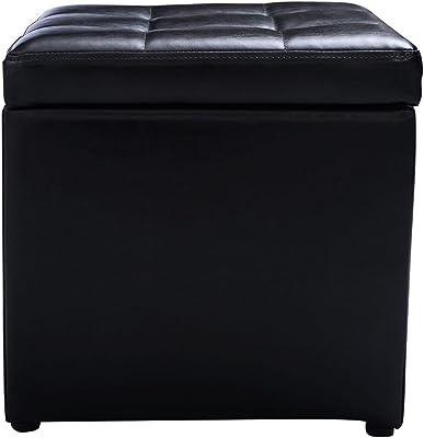 "GHP Black PU Leather 16""L × 16""W × 16""H Ottoman Storage w Wooden Frame"