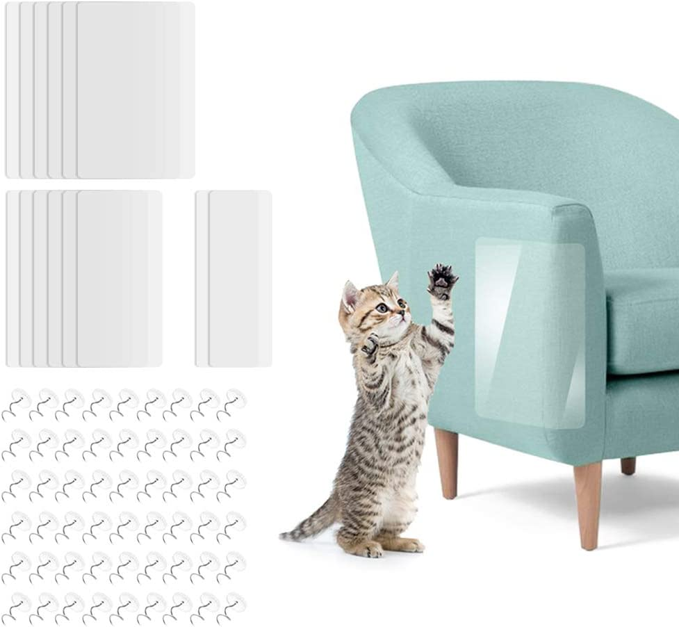 SITAKE 12 Pcs Cat Scratch Protectors Set, 3 Sizes Premium Self-Adhesive Pet Scratch Guards with 60 Pcs Pins, Clear Cat Furniture Protector for Upholstery, Sofa, Door, Wall