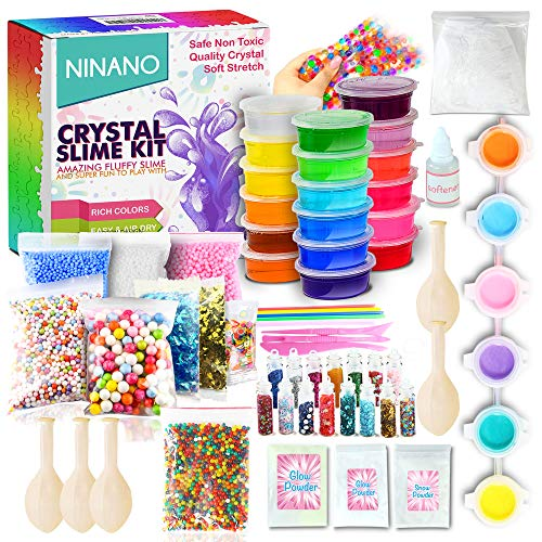 DIY Slime Kit for Girls Boys - Ultimate Glow in the Dark Glitter Slime Making Kit-18 Slime Containers, Foam Balls, Water Beads, Snow powder,White Clay,Tools for Kids Aged -