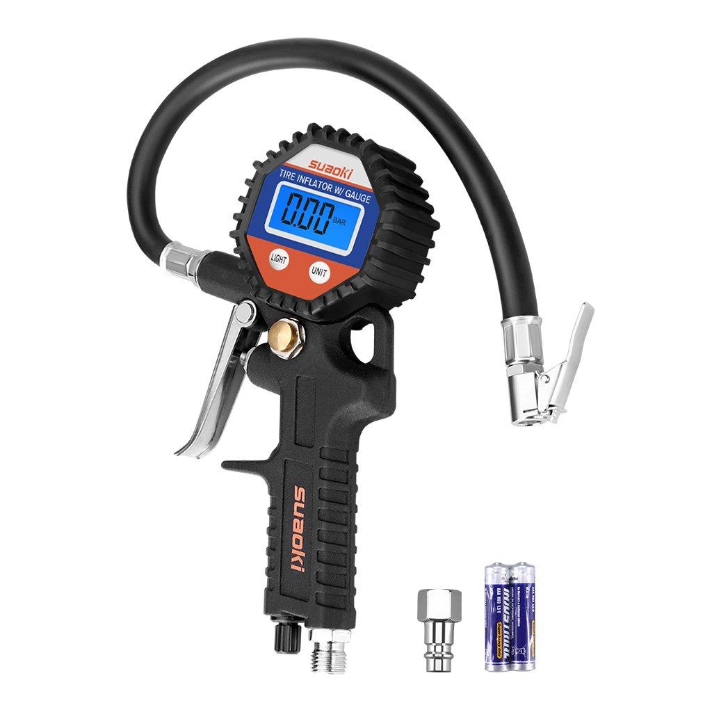 Schwarz Suaoki 150 PSI digital Luftdruckpr/üfer Reifenf/üller Tragbare Pr/äzision Reifendruck Messger/ät mit Hinterleuchtet LCD-Bildschirm f/ür Auto Motorrad
