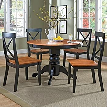 Home Styles 5168 318 5 Piece Dining Set, Black And Cottage Oak Finish