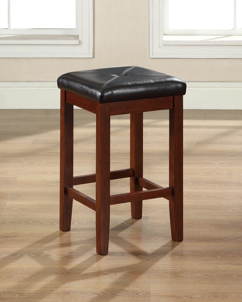 Crosley Furniture Upholstered Square Seat 24-inch Bar Stool - Vintage Mahogany (Set of 2)