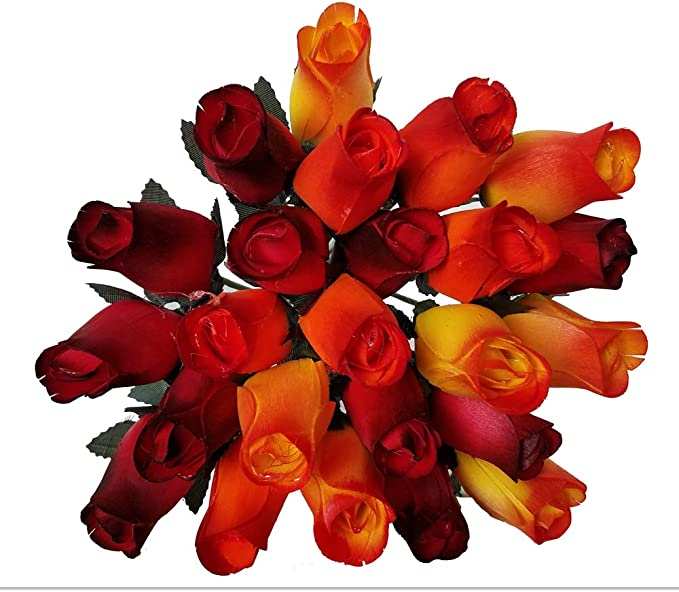 24 Realistic Wooden Roses -Shades of Fall- Yellows, Oranges, Reds