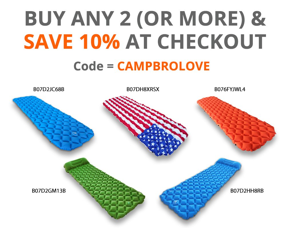 CampBro Sleeping PAD Inflatable Camping MAT Backpacking – Inflatable Air Mattress with Snap-On to Queen Size