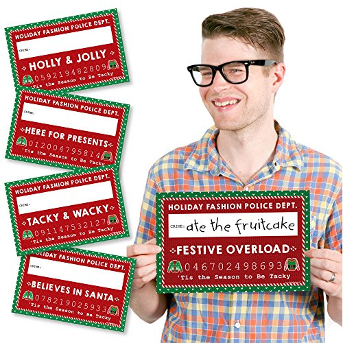 Big Dot of Happiness Ugly Sweater - Party Mug Shots - Photo Booth Props Holiday & Christmas Party Mugshot Signs - 20 Count ()