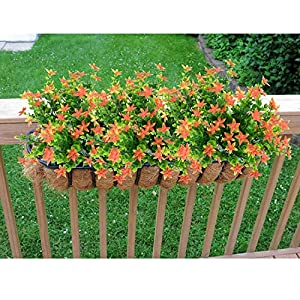 kingbuy Artificial Flowers 5 Bundles Outdoor UV Resistant Plants Shrubs Plastic Leaves Fake Bushes Greenery for Plants Indoor Outside Hanging Planter Home Patio Yard Garden Decor Window Box 5