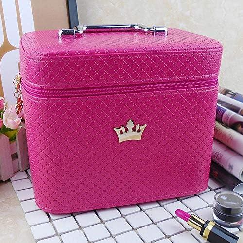 化粧品袋 女性のメイクアップボックスの旅化粧品ボックスの収納オーガナイザー大型宇宙 旅行化粧収納ボックス (Color : Rose Pink, Size : 24x17.5x20cm)