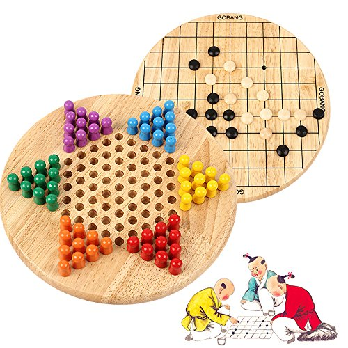 Wondertoys 2 in 1 Chinese Checkers & Gobang (Five in a Row) Wooden Board Game for Family (Wood Board Chinese Checkers)