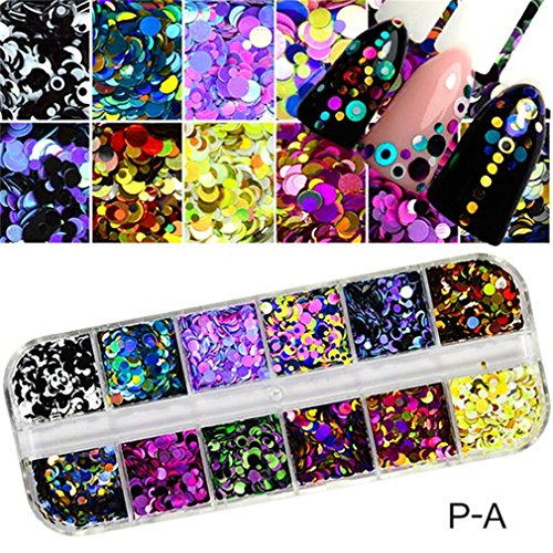 1 Set Dazzling Round Nail Glitter Sequins Dust Mixed 12 Grids 1/2/3Mm DIY Charm Polish Flakes Decorations Manicure Tips Kit (Stainless Chrome Pa)