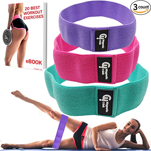 Hip Resistance Bands Set of 3 (low, medium and heavy) - Hip Bands For Booty Building, Warm-Up, Hip Workout, Booty Bands for Activating Glutes, Lifting - Ideal for Physical Therapy or Stretching by Magnetic Think