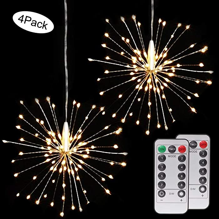 4 Pack 120 LED Firework Copper Lights,8 Modes Dimmable String Fairy Lights with Remote Control,Decorative Hanging Starburst Lights for Parties,Home,Outdoor Decoration (4 Pack, Warmwhite Firework)