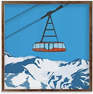 VinMea Val Thorens Ski Lift - Home Decor, Farmhouse Wall Door, Framed Wooden Signs Wall Art Painting 12