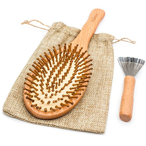 Wooden Hair Brush Comb Natural Hairbrush with Large Paddle Carbonized Bristles - Detangling Brushes - Scalp Massage Brush - Improve Hair Growth, Prevent Hair Loss for All Hair Types, Men and Women