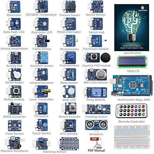 SunFounder Ultimate Mega 2560 Sensor Kit V2.0 for Arduino UNO R3 Mega2560 Mega328 Nano - Including 98 Page Instructions Book
