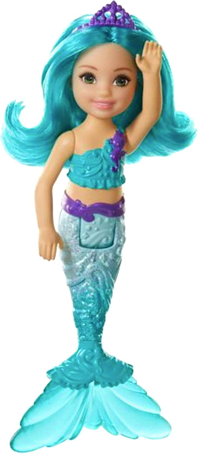 Barbie Dreamtopia Chelsea Mermaid Doll, 6.5-inch with Teal Hair and Tail