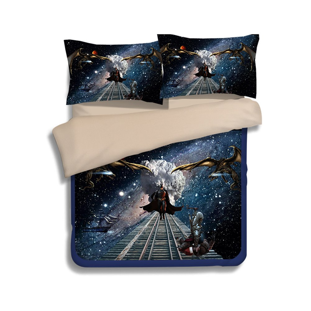 3D Batman Bedding Sets - Sport Do Best Gifts for Movie Funs 100% Polyester Skinclose Flat Sheet 4PC Queen