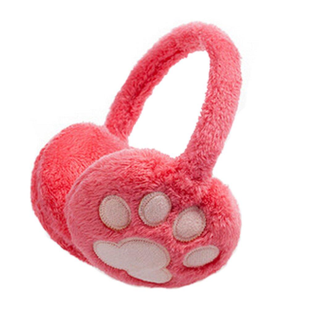 Cute Paw Super Soft Earmuffs Winter Earmuffs Ear Warmers,Pink KE-CLO2474962011-JELLY01758
