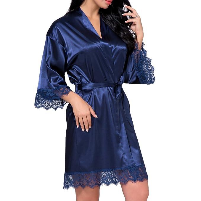 qiansu Batas de Kimono Cortas de Color Puro Satinado con Adornos de Encaje Novias de Dama de Honor Albornoz: Amazon.es: Ropa y accesorios