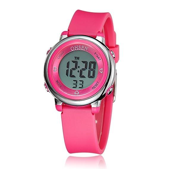Reloj mecanismo de cuarzo digital OYang Para Con Digital Y Rosa oscuro Caucho XX#KL-QO31-3B70: Amazon.es: Relojes