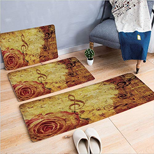 3 Piece Non-Slip Doormat 3d print for Door mat living room kitchen absorbent kitchen mat,Design with a Big Rose and Treble Clefs Music,15.7