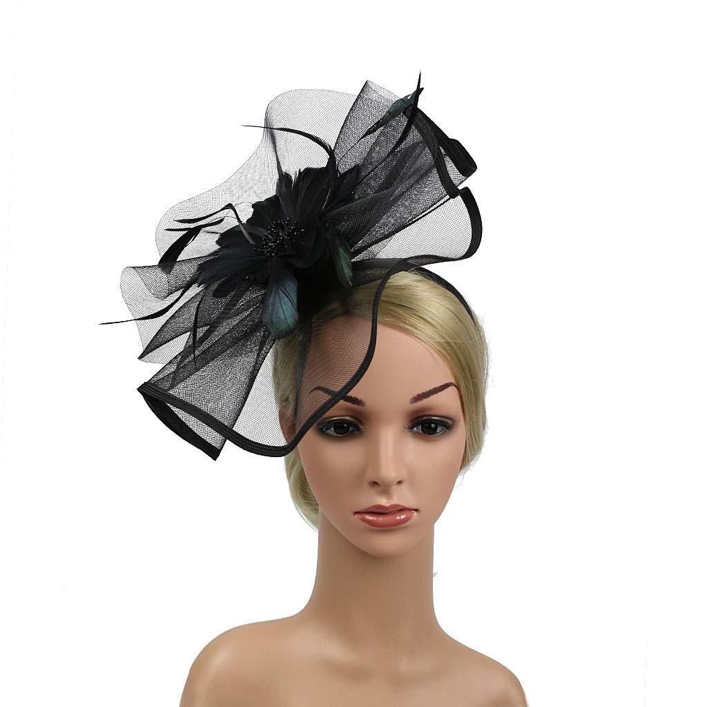 Kentucky Derby Fascinators for Women Sinamay Tea Party Hat Cocktail Headpiece Flower Mesh Feathers Headband Hat Black-AD by Merya Dress (Image #5)
