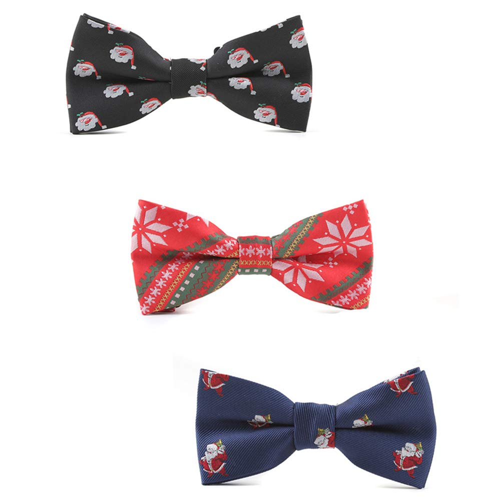 Christmas Bowtie Mens Bow Tie Adjustable Bowties Polyester Bow Ties for Men Mantieqingway