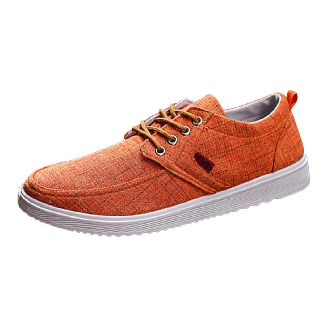 Mens Canvas Sneaker, Shybuy Men Fashion Lace-up Low Top Flat Sneaker Casual Comfortable Shoes (6.5, Orange)