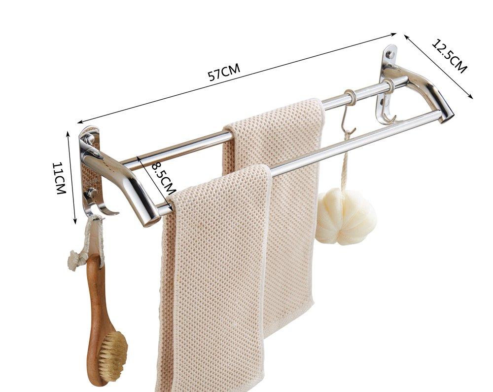 Toallero de de de baño de acero inoxidable 304 colgando varilla de la barra estante de la toalla doble barra varilla de baño toalla (Tamaño: 117 cm) 00f150