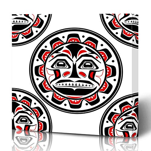 (Ahawoso Canvas Prints Wall Art 16x16 Inches American Pacific Sun Northwest Aboriginal Canadian Inuit Native Pattern Design Black Decor for Living Room Office Bedroom)