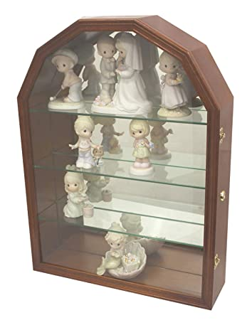 Collector Display Case Wall Curio Cabinet Figurines Display Case Wall Mount Walnut