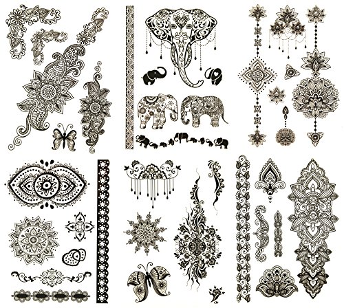 Henna Inspired Temporary Tattoos Black - Over 50 Designs (6 Sheets) Terra Tattoos Giselle