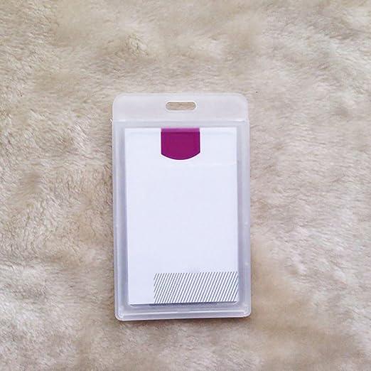 Pink888 - Funda para tarjeta de identificación, de plástico duro e impermeable blanco