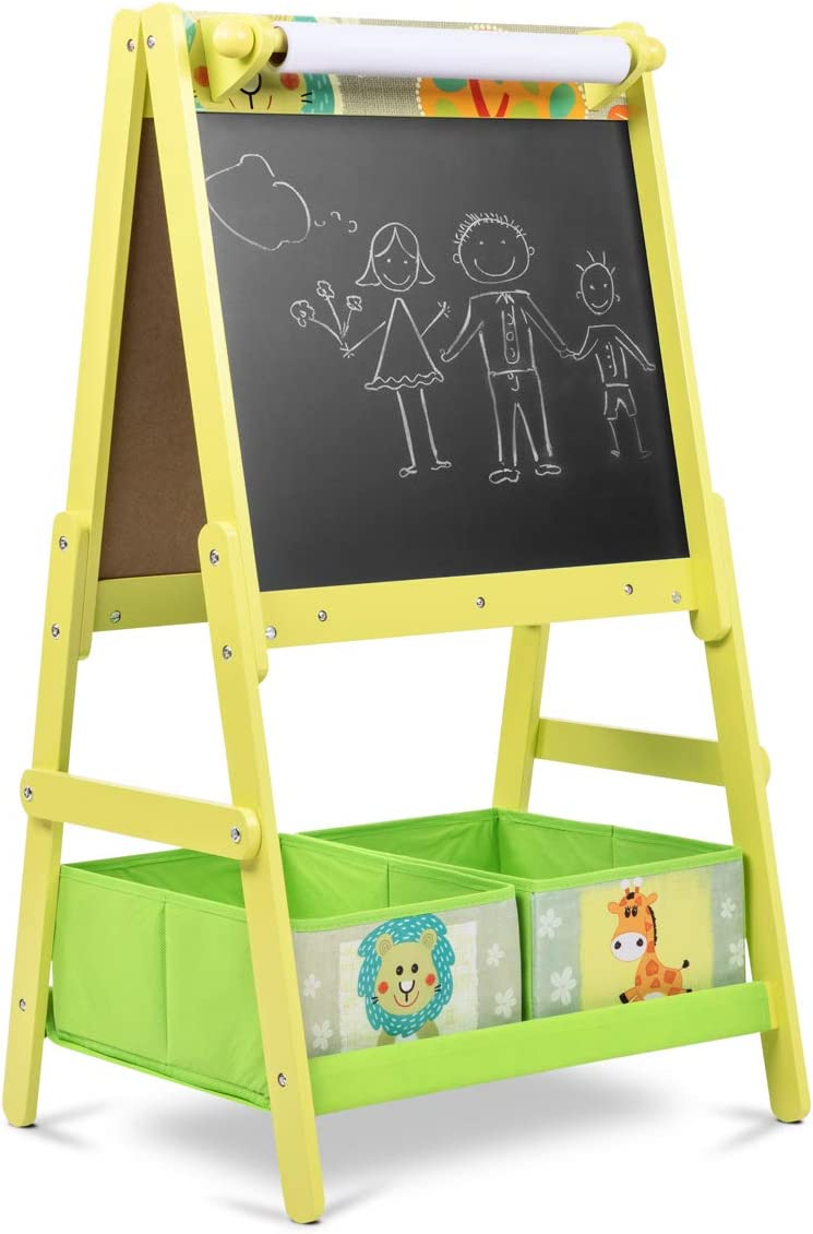 Lalaloom SWEET BOARD - Pizarra infantil con caballete de madera (juguete con doble cara, habitación para niños, pizarra magnética y de tiza con espacio almacenaje), 45x54x93 cm, color Verde: Amazon.es: Juguetes y