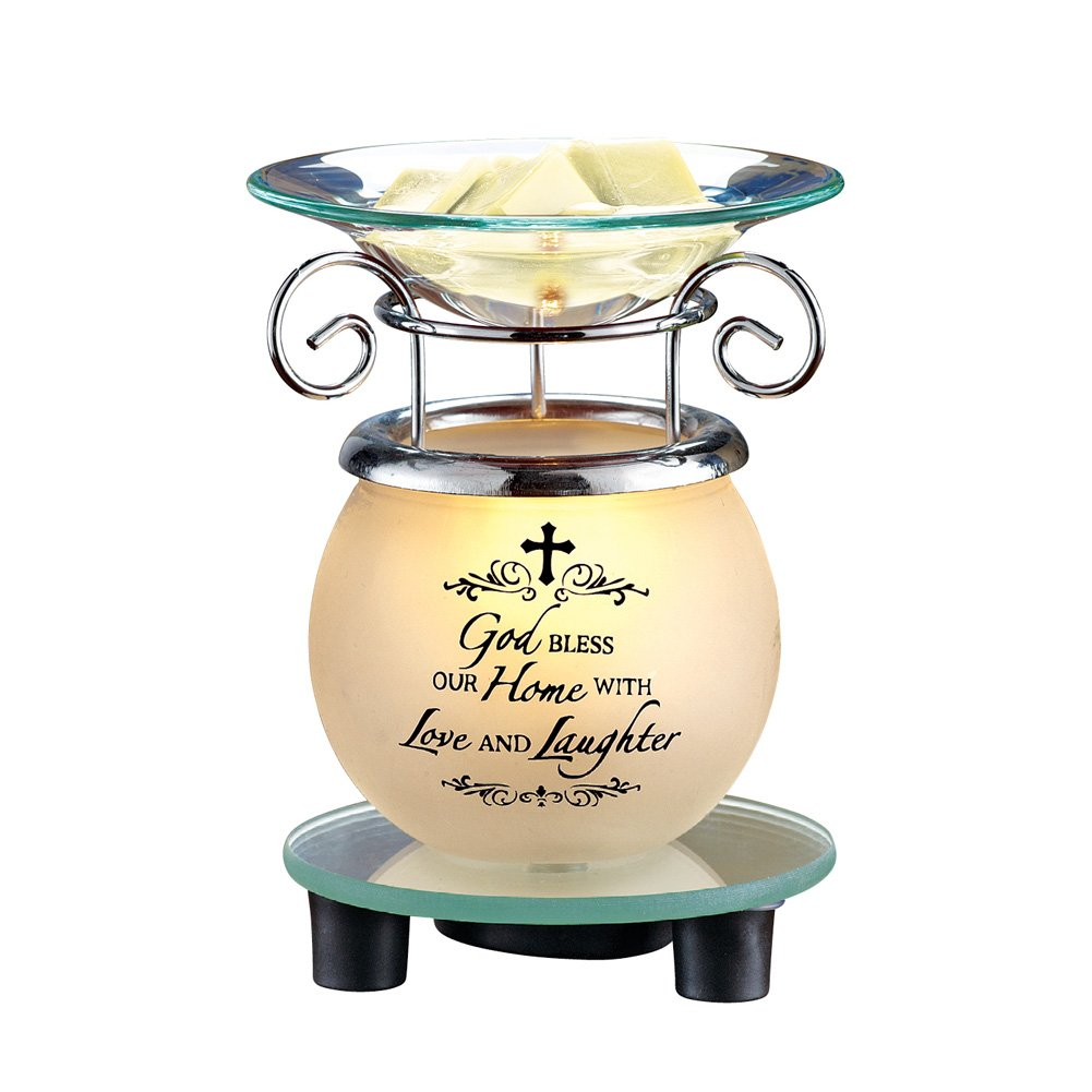 Collections Etc Lighted /'God Bless Our Home/' Plug-in Wax Melt Warmer Tabletop Decoration for Any Room in Home